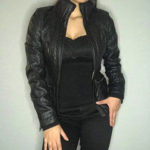 GUESS black leather jacket w quilted & zip detail